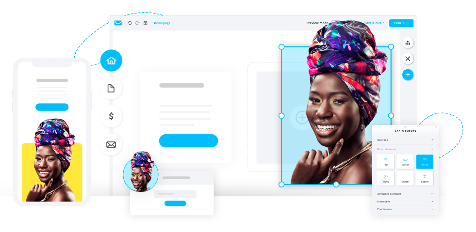 Create your vivid website in moments with GetResponse Website Builder.