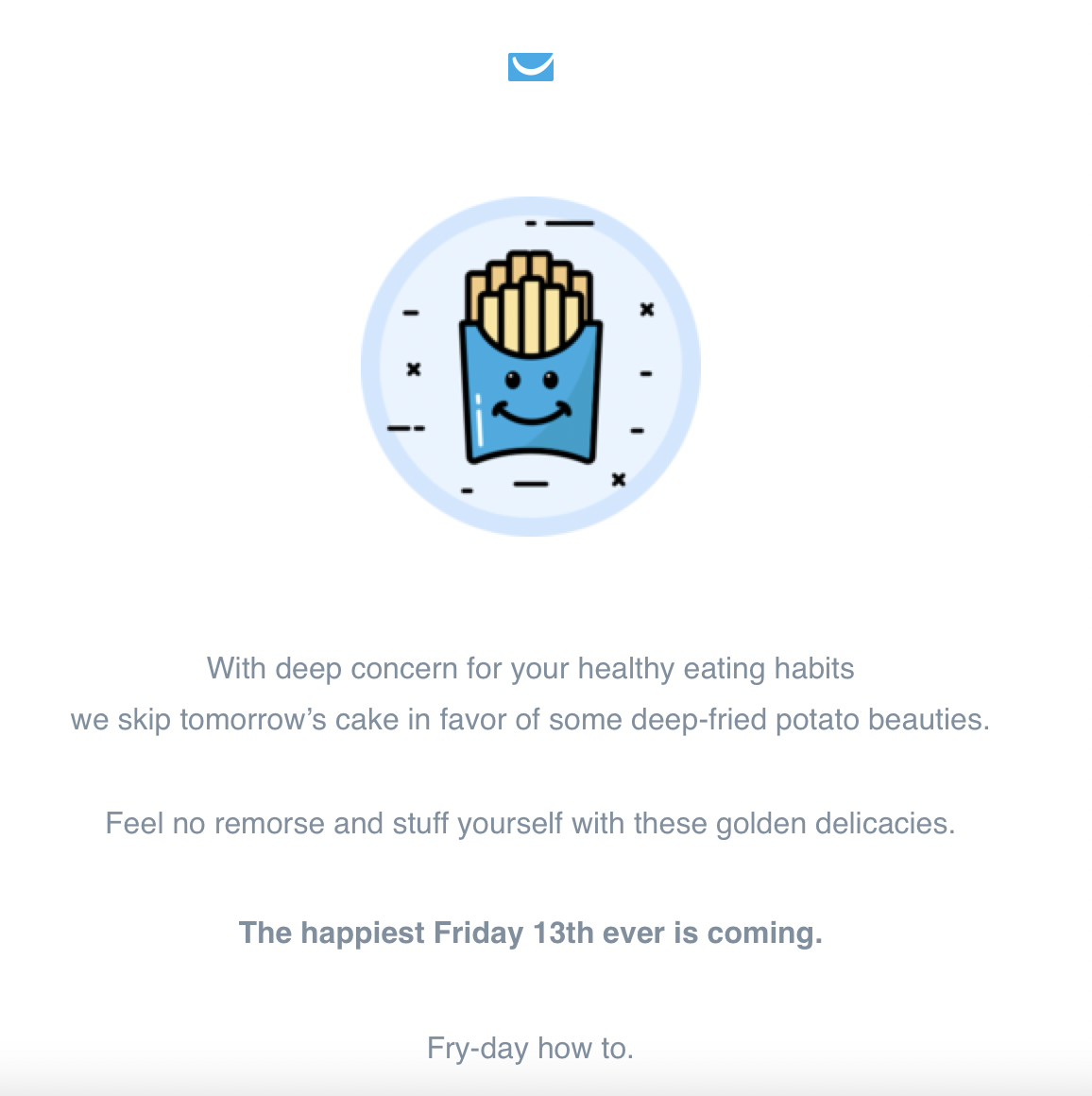GetResponse email inviting employees to celebrate Fry-day on Friday the 13th.
