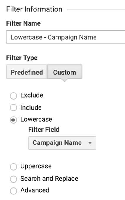 Фильтр в Гугл Аналитикс название кампании в нижнем регистре
