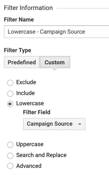 Фильтр в Гугл Аналитикс источник кампании в нижнем регистре