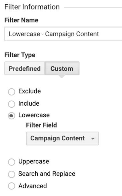 Фильтр Гугл Аналитикс содержание кампании в нижнем регистре (utm_content)