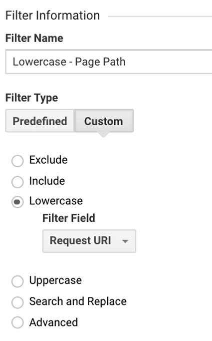Фильтр Гугл Аналитикс пути к страницам в нижнем регистре