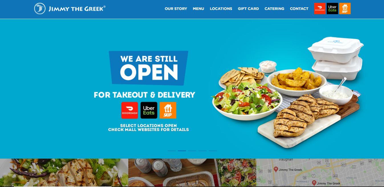 Restaurant website example Jimmy the Greek.