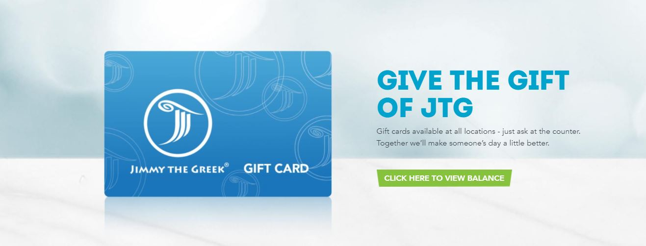 Image featuring a gift card on the Jimmy the Greek website.