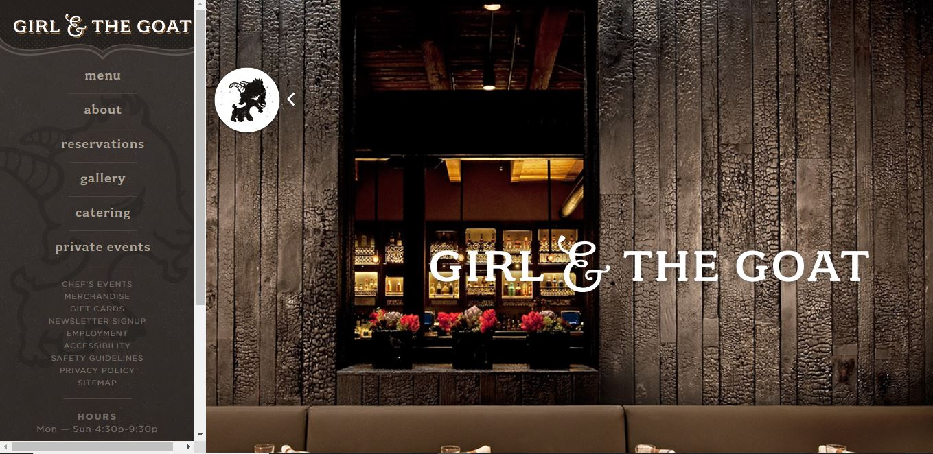 Restaurant website idea - Girl and Goat.