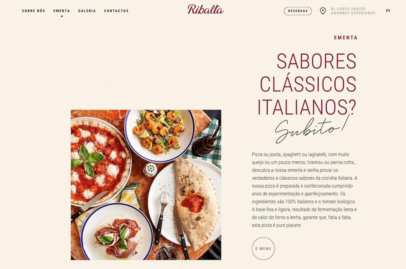 Restaurant website example Ribalta.