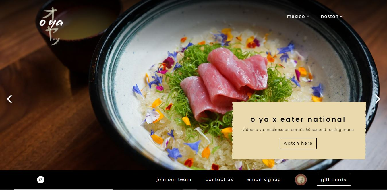 Restaurant website design Oya.