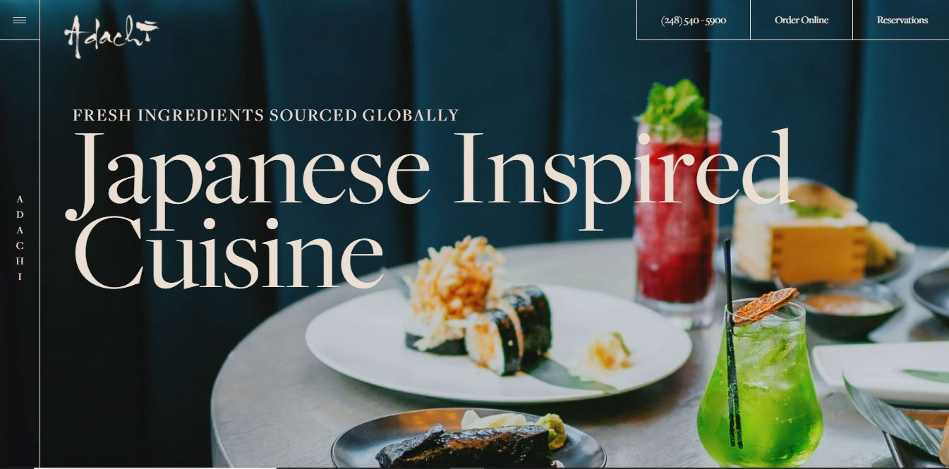 Restaurant menu site Japanese Inspired Cuisine.