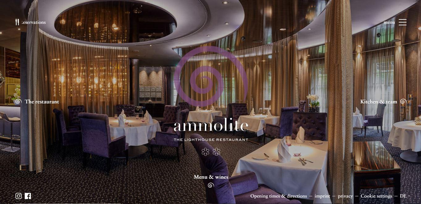 Restaurant website example Ammolite.
