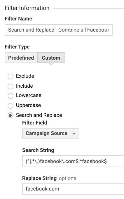 Фильтр Гугл Аналитикс объединить все источники Facebook в один