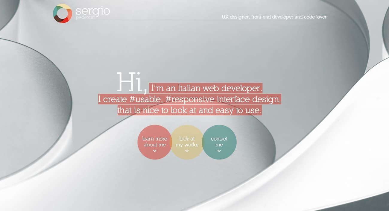 Portfolio website example from Sergio Perdercini.