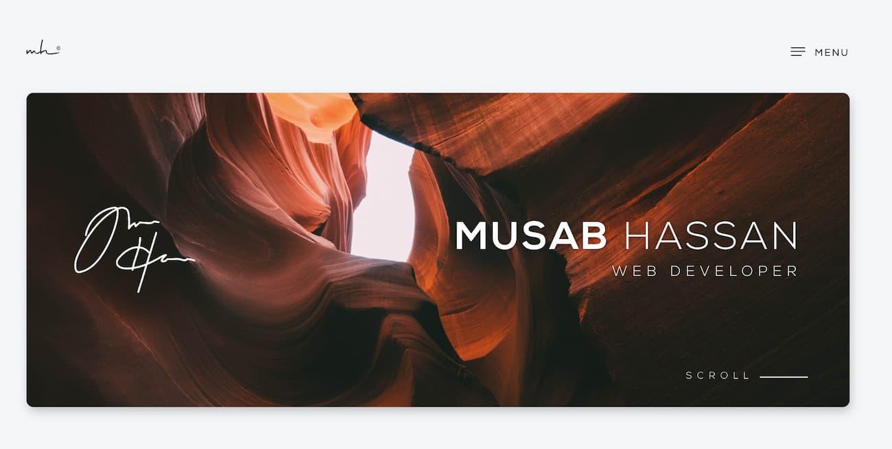 Online portfolio example from Musab Hassan.