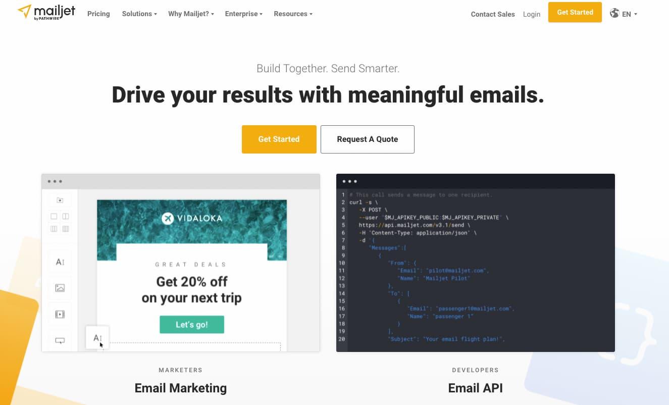Mailjet newsletter software.