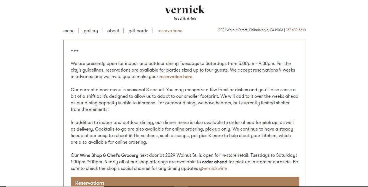 Restaurant web page Vernick and Food.