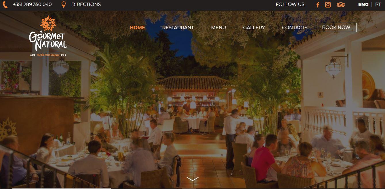 Gourmet natural restaurant website example.