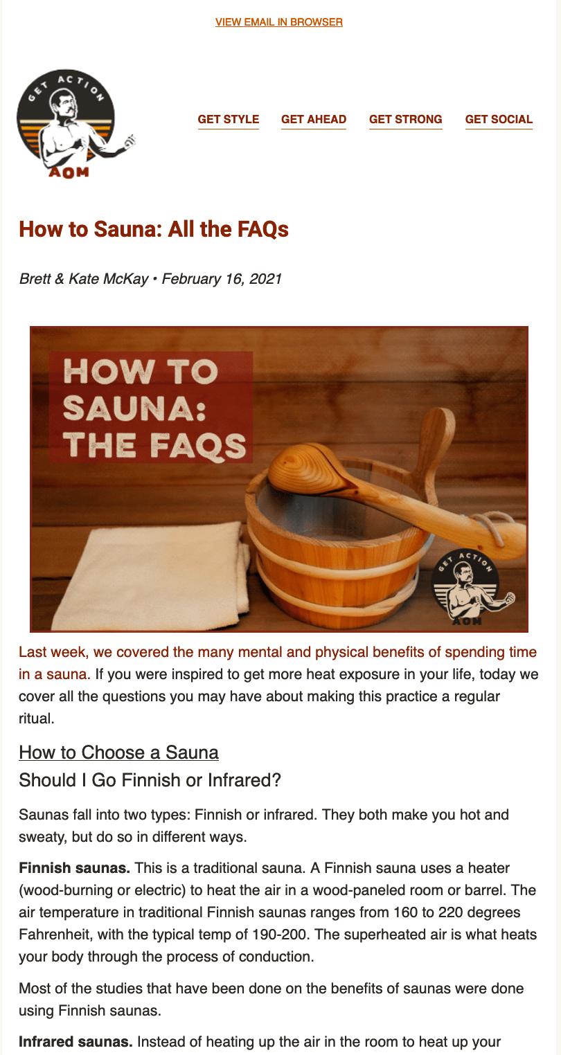 Пример FAQ раздела email рассылки от компании Brett & Kate