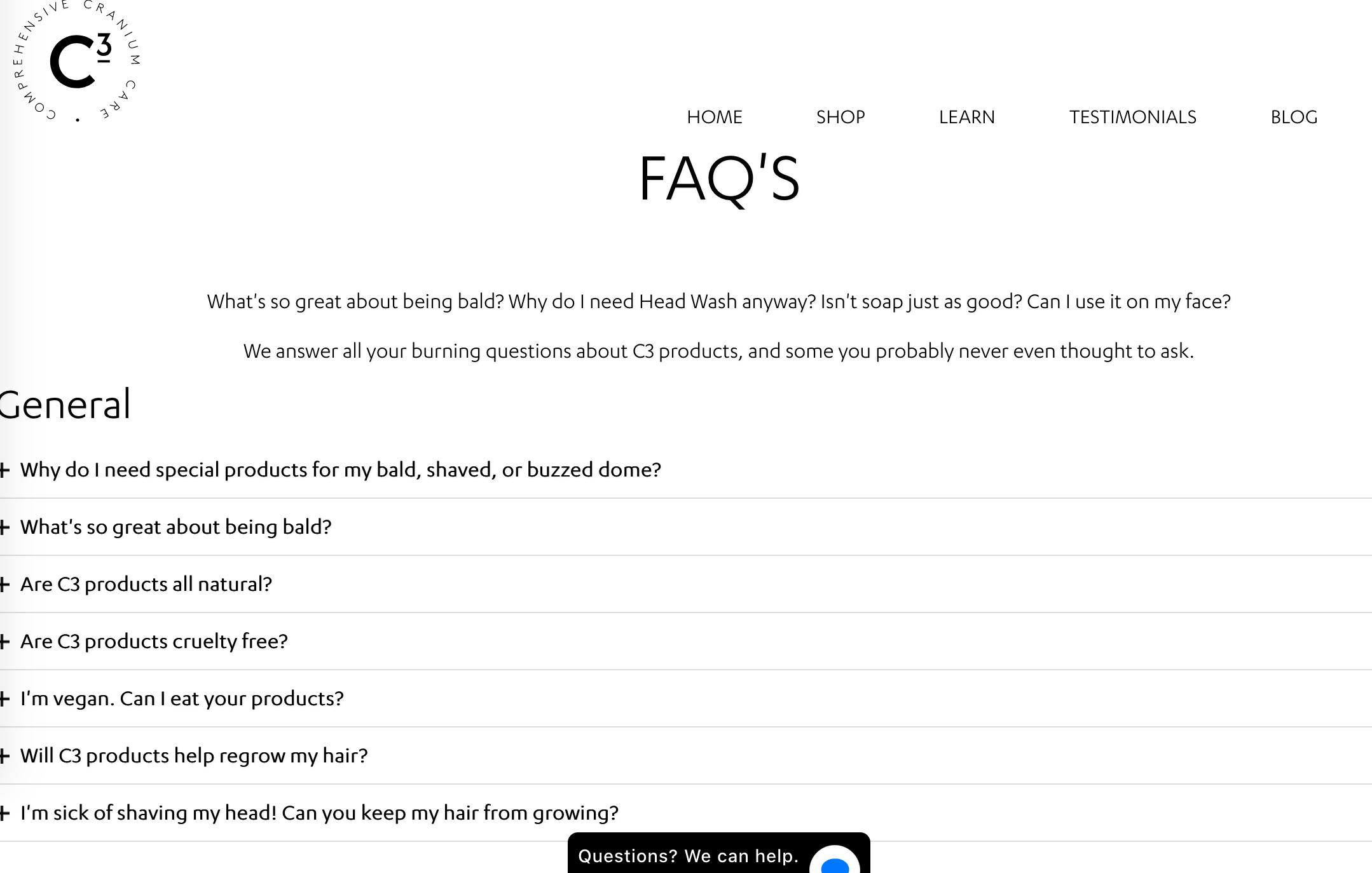 Пример FAQ раздела Comprehensive Cranium Care