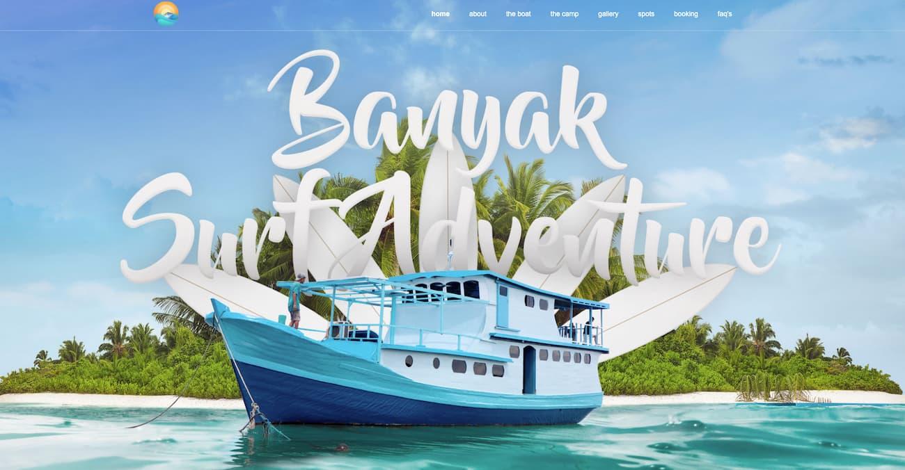 Events website example - Banyak Surf Adventure.