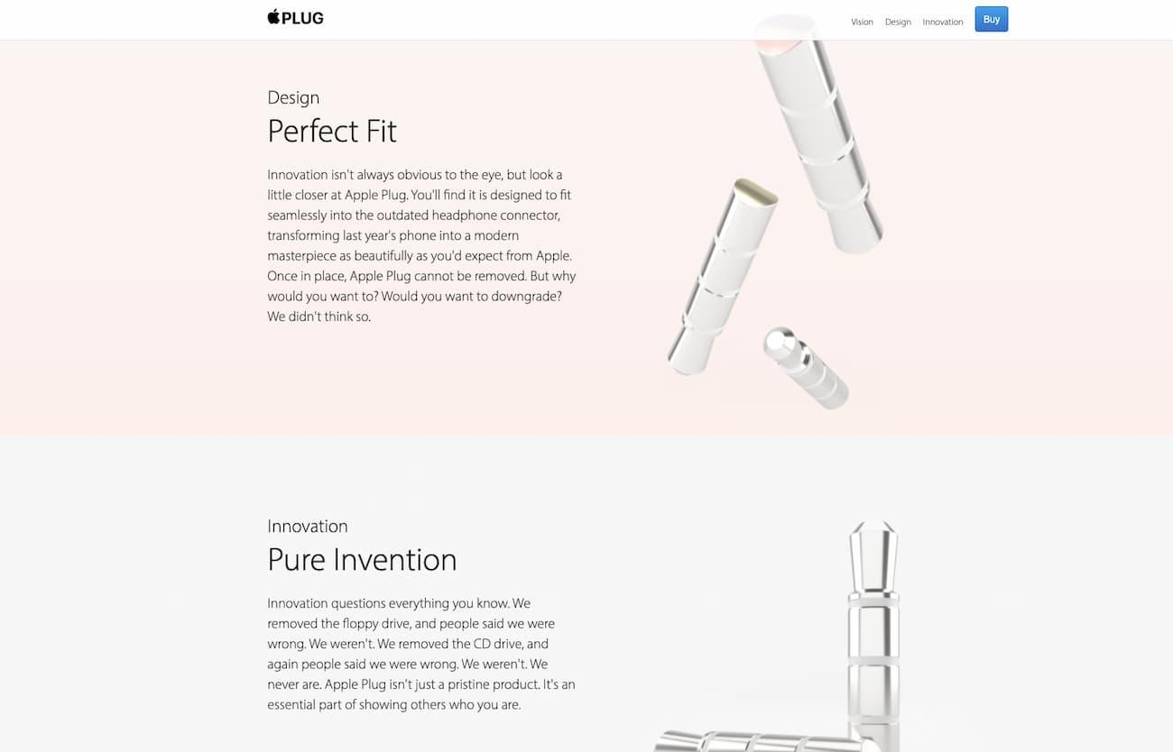 One-page website example - Plug Apple parody.