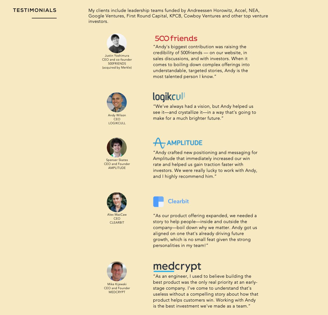 Testimonials on a website.