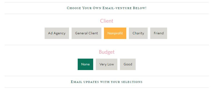Selecting email updates.