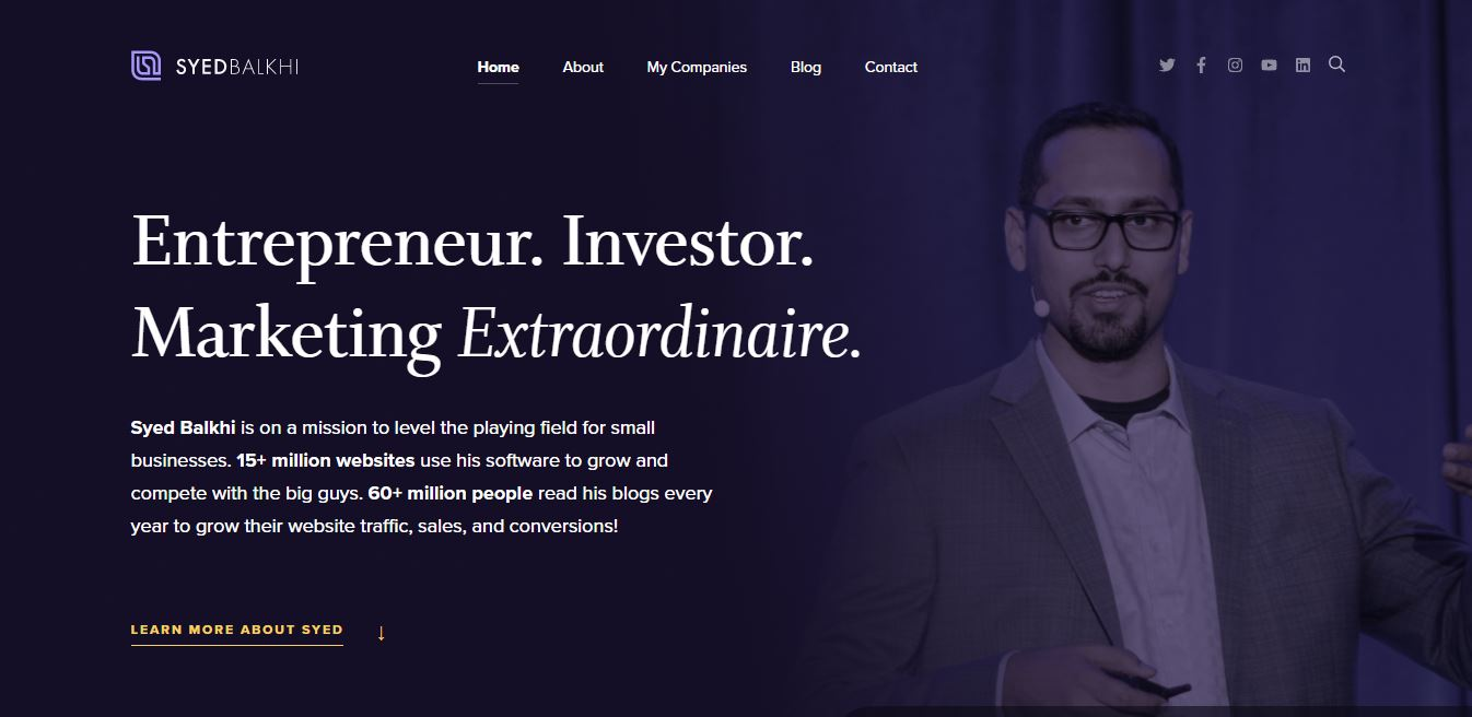 Investor personal website.