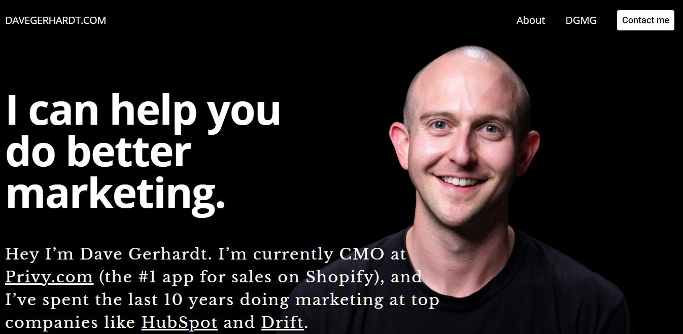 Marketing leader webpage.