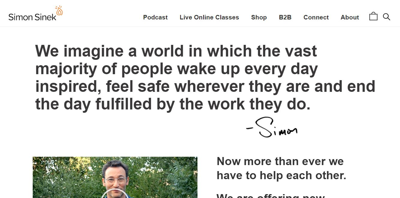 Inspirational speaker website example.