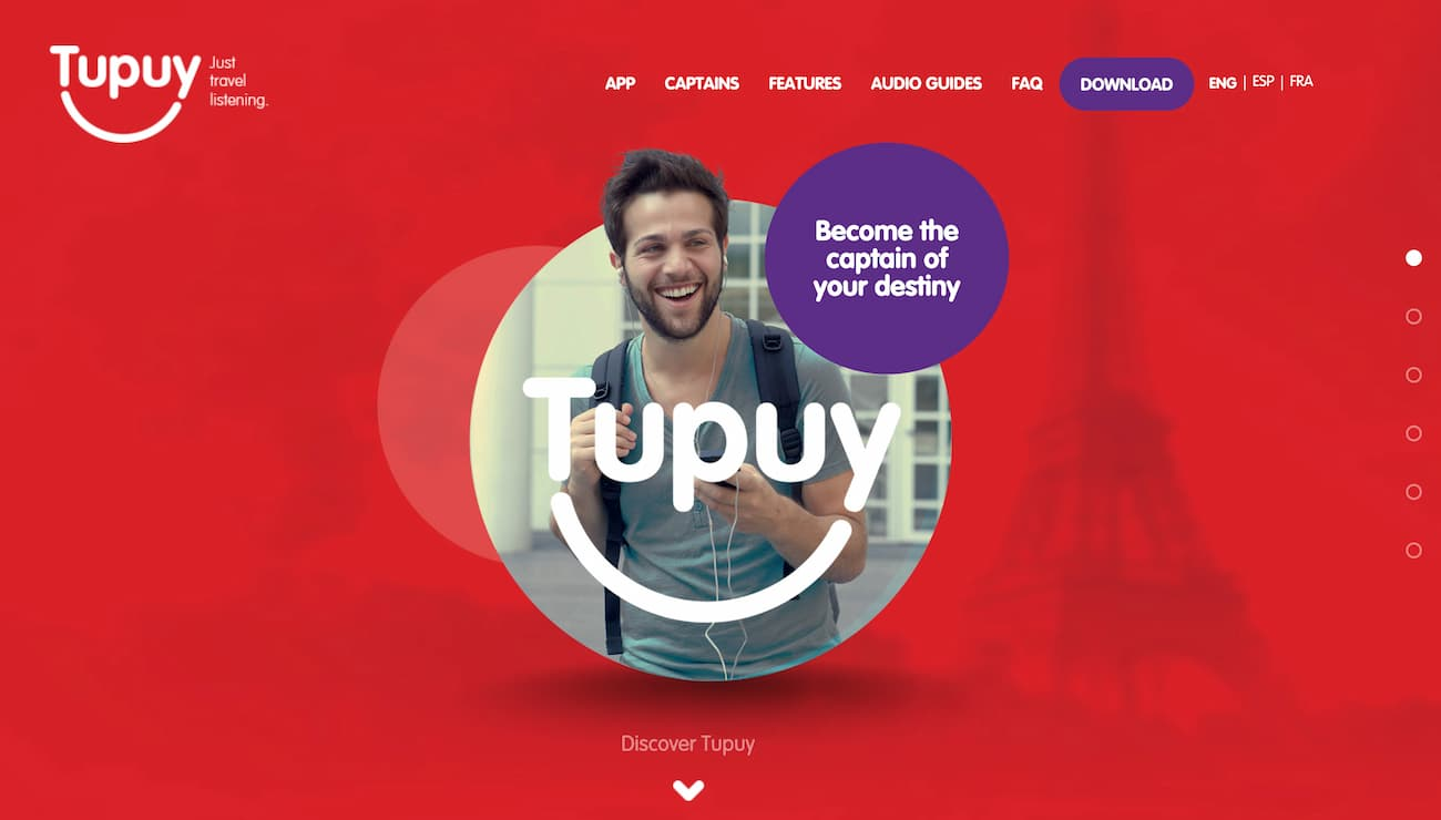 Example of a dynamic and visually appealing one page website - Tupuy.
