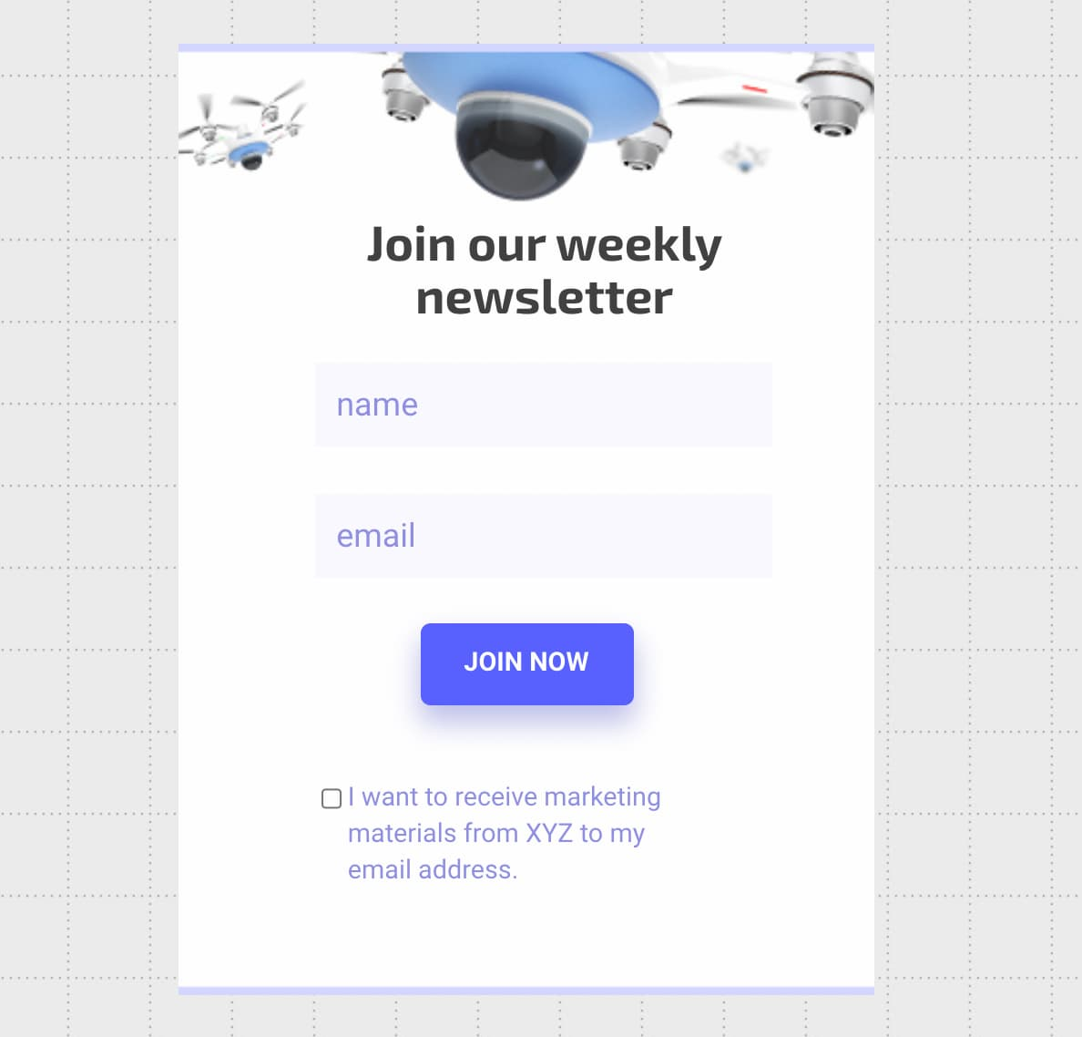 Newsletter subscription form created using GetResponse Signup Form Builder.