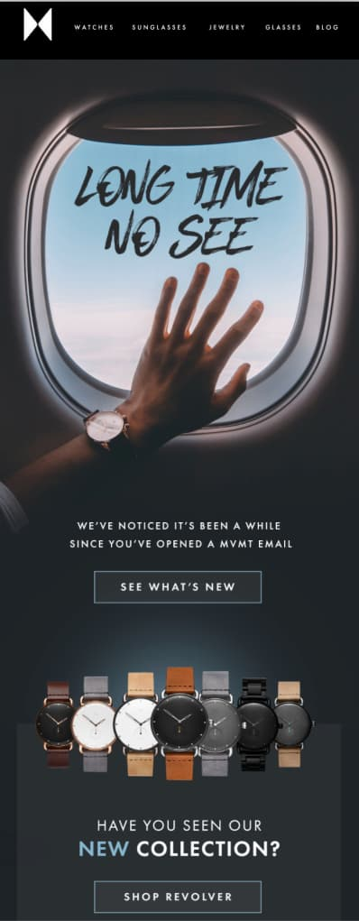 Reengagement email campaign from online retailer, MVMT.
