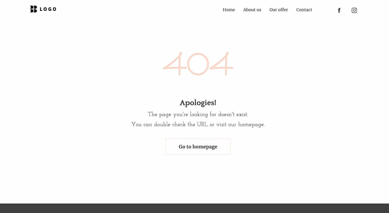 404 page example from one of the GetResponse website templates.