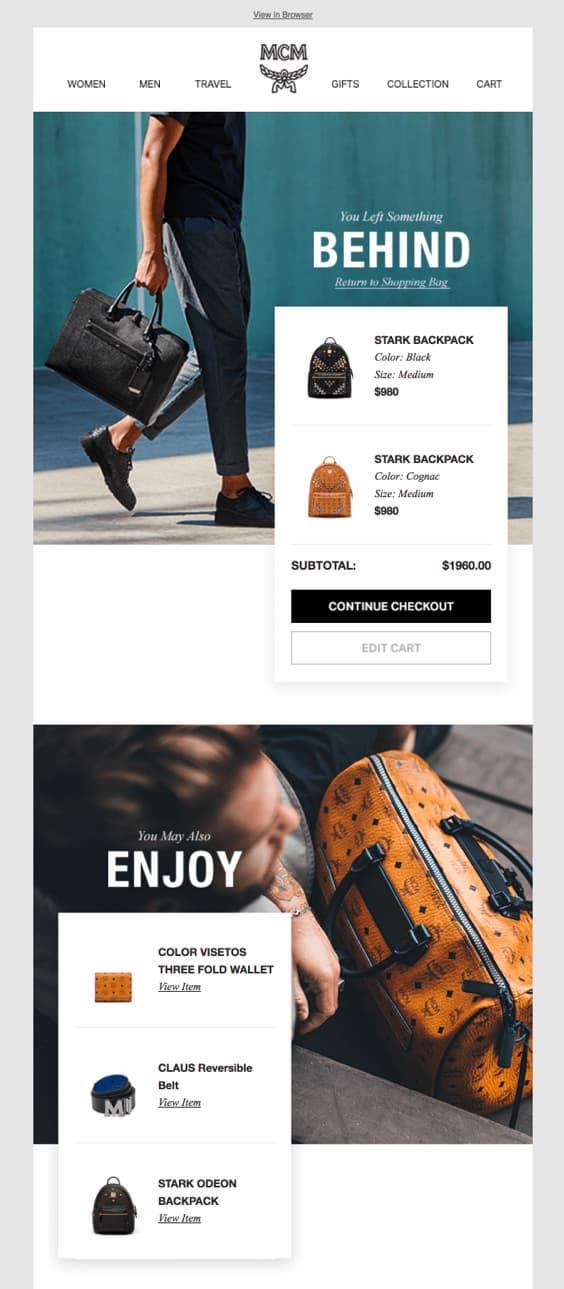 напоминание о брошенной корзине от MCM с продуктами их бренда
