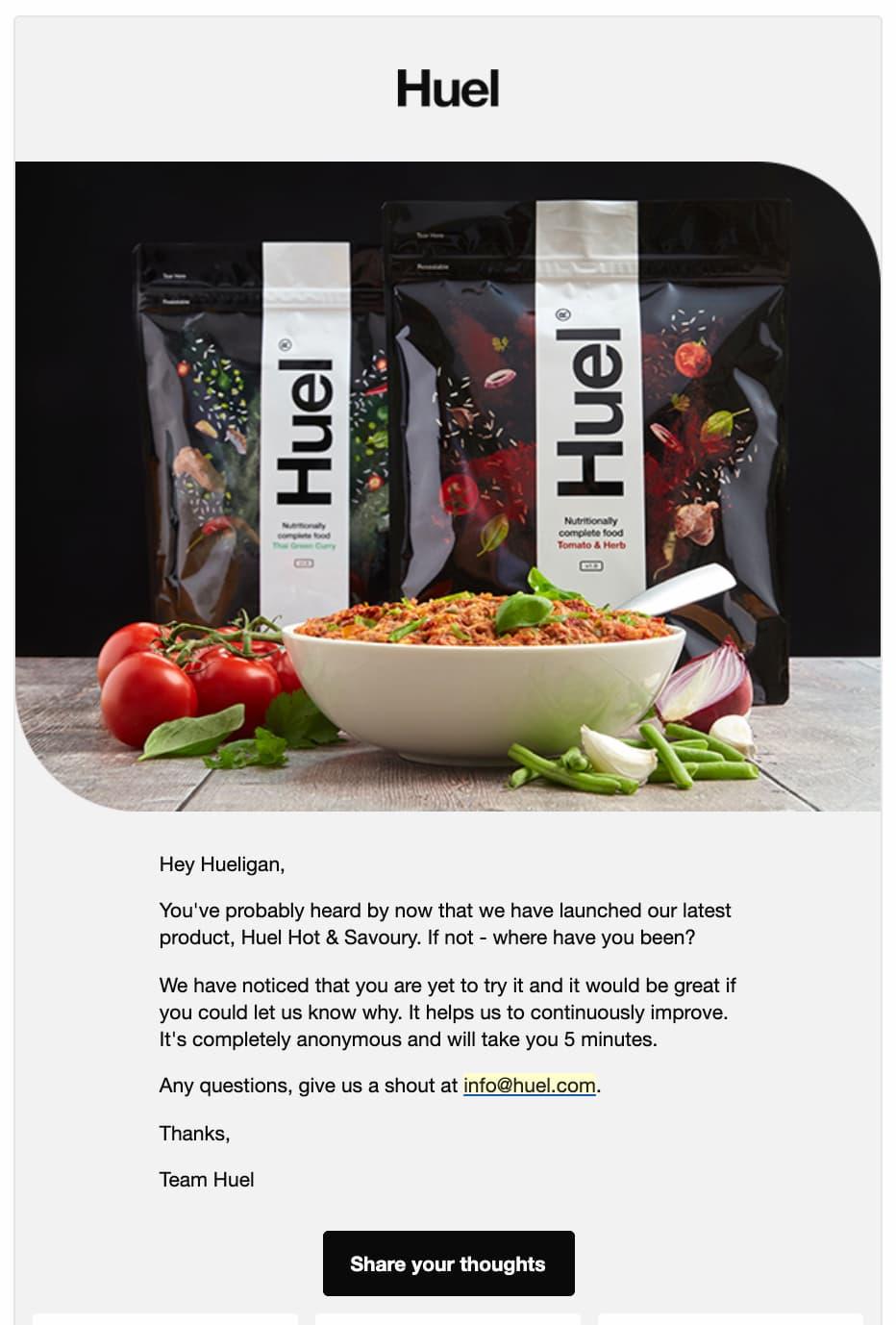 персонализированная рассылка от Huel с блюдом, помиродами и зеленью