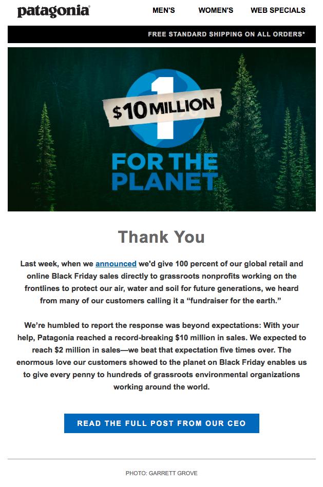 рассылка от Patagonia с вовлекающим контентом и графикой в зеленом и голубом цвете