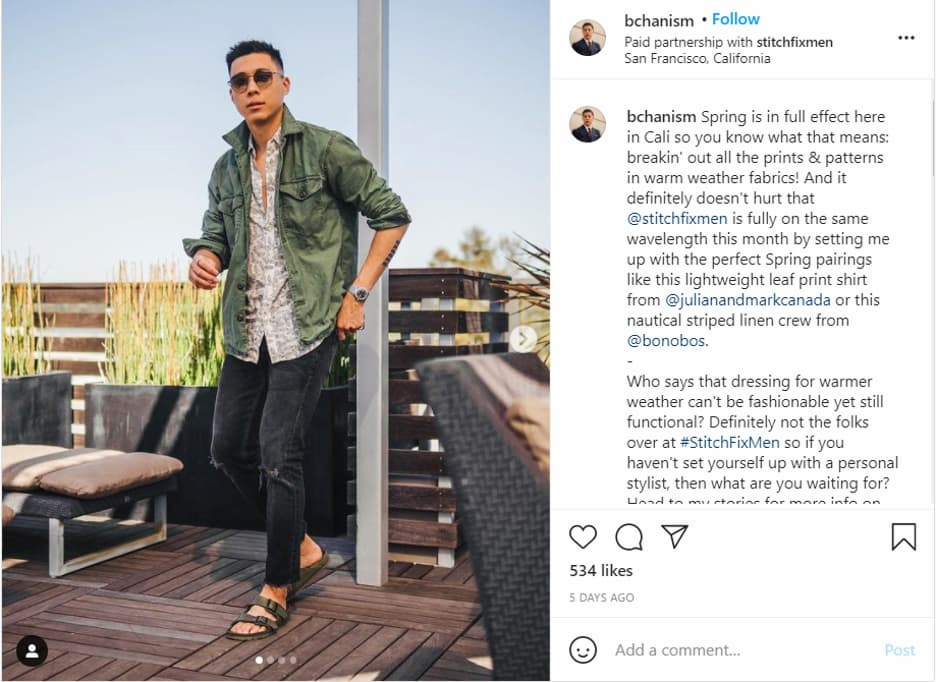 Example of an influencer marketing campaign (paid partnership) on Instagram.