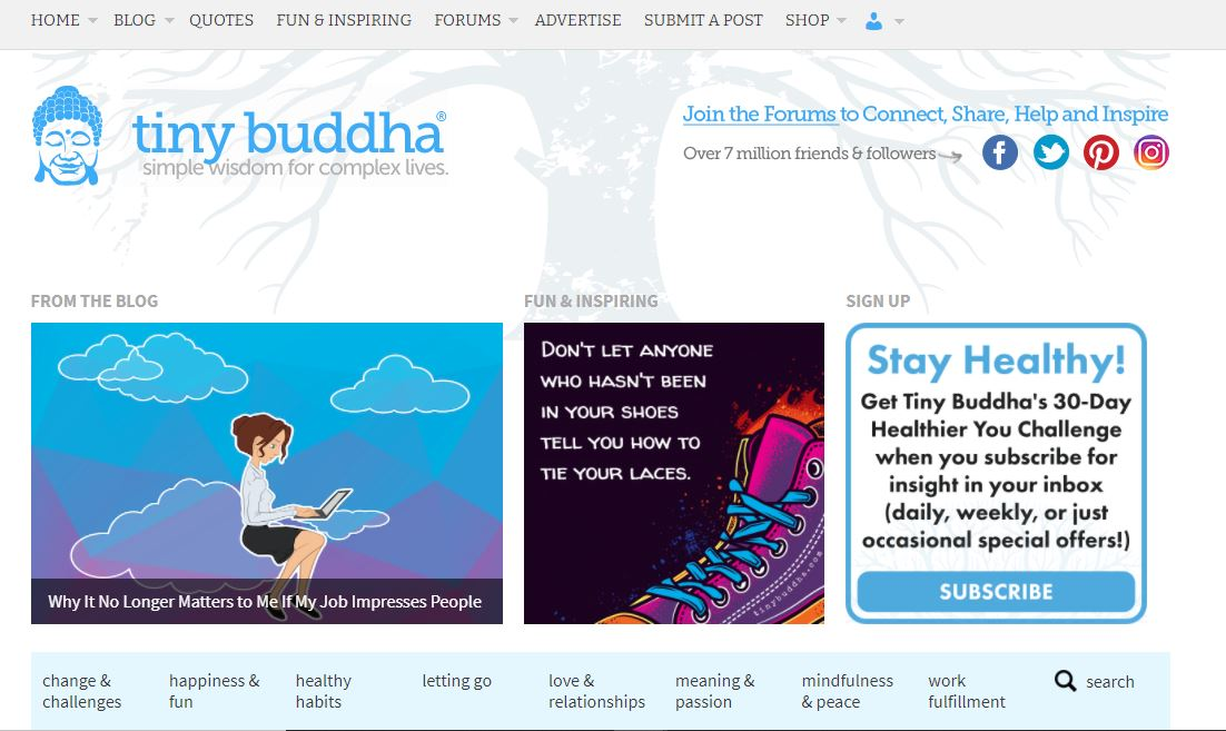 "Self-help website example - Tiny Buddha."" class=""wp-image-23205"" width=""663"" height=""395"