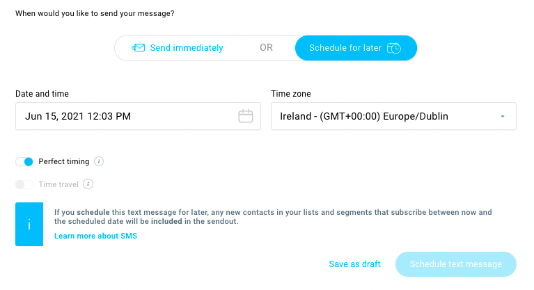 Scheduling options in the SMS editor inside GetResponse.