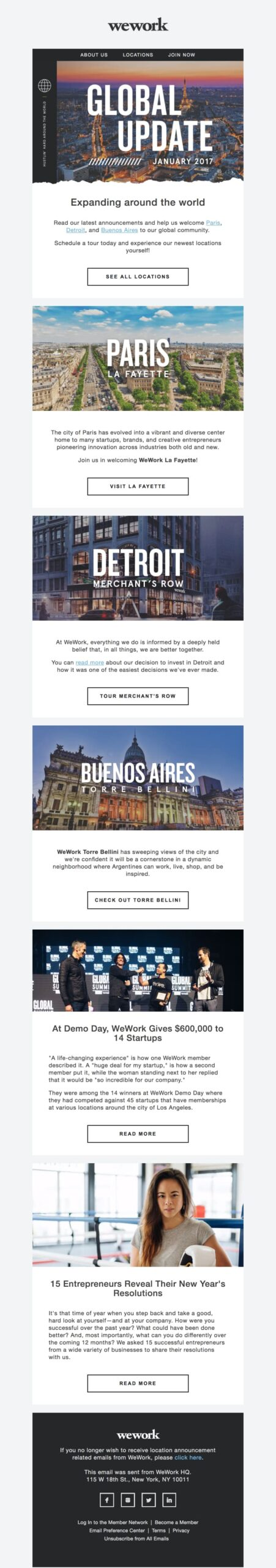 Email announcing new locations being opened this year.