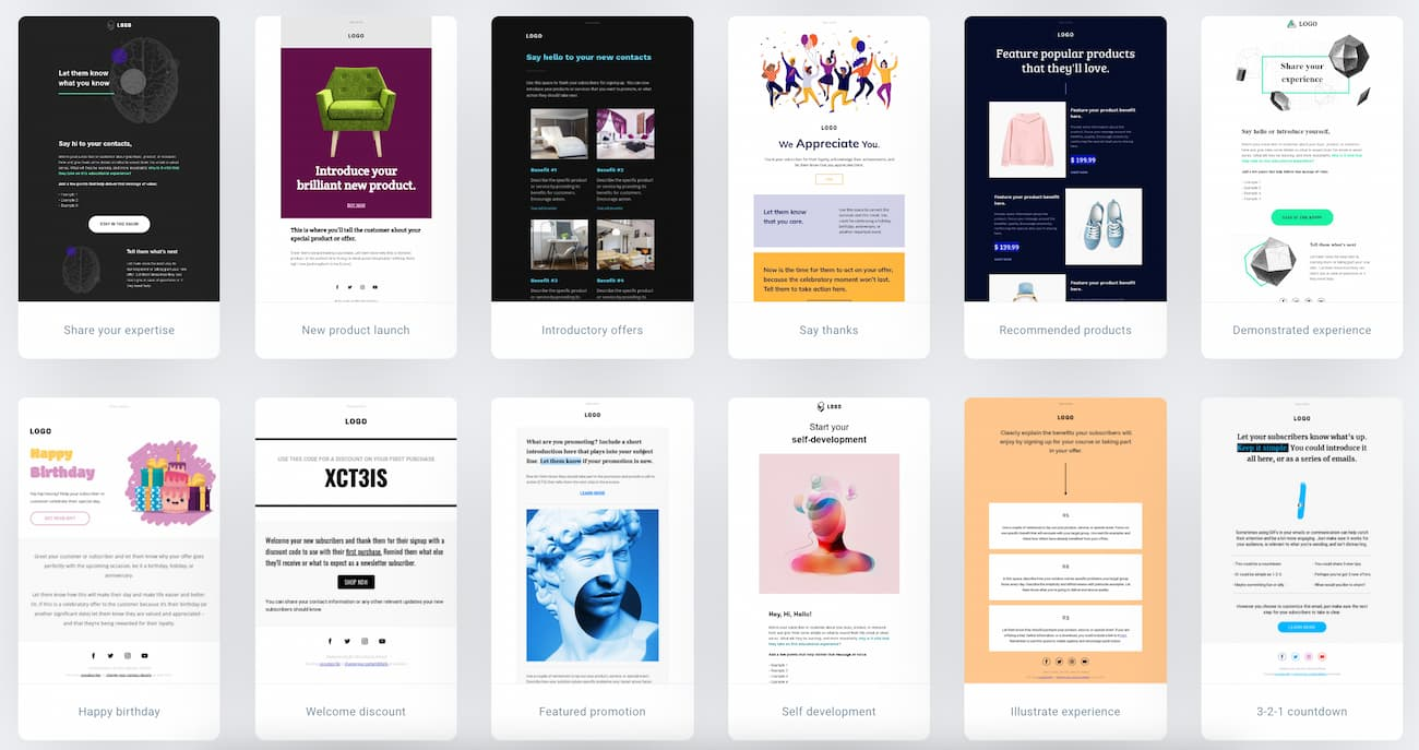 Examples of email blast templates you'll find in GetResponse.