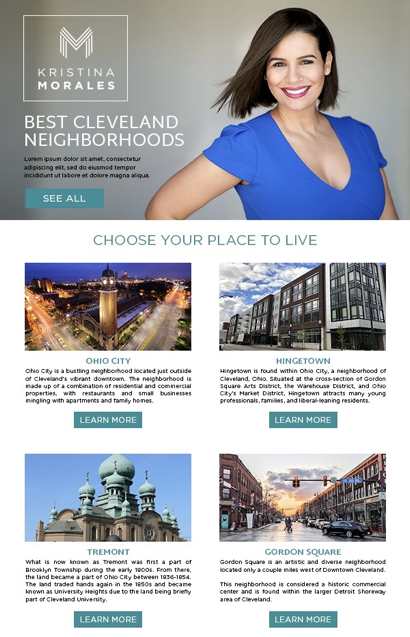 Real estate email template using high-quality images.
