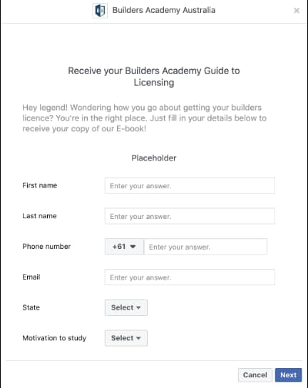 Facebook lead ad example from Builders Academy Australia - signup form.