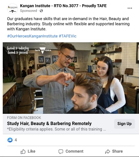 Facebook lead ad example from Kangan Institute - visual and copy.