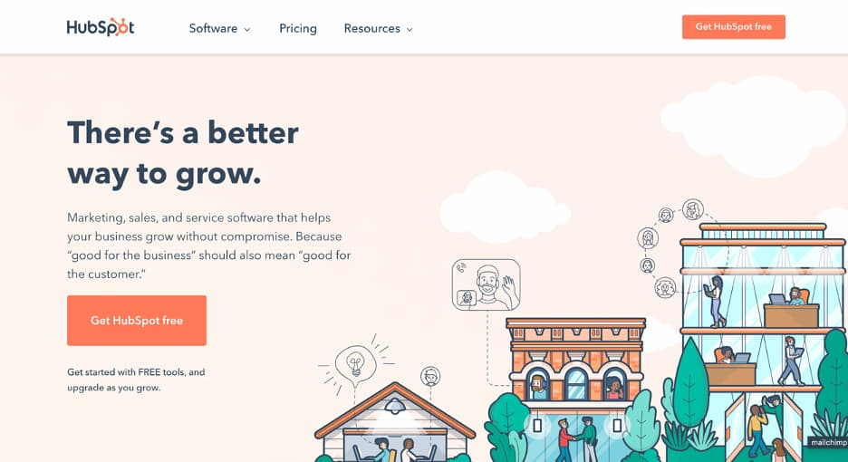 Hubspot homepage.