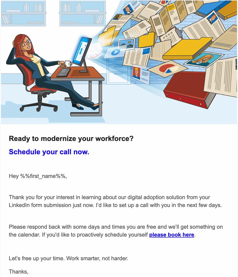 пример персонализированного письма с иллюстрацией девушки, сидящий при компьютере