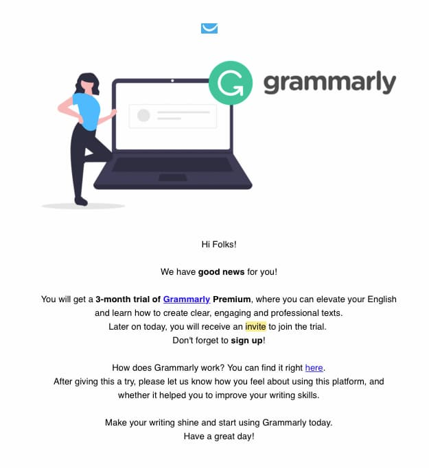 GetResponse informing employees about their Grammarly subscription.