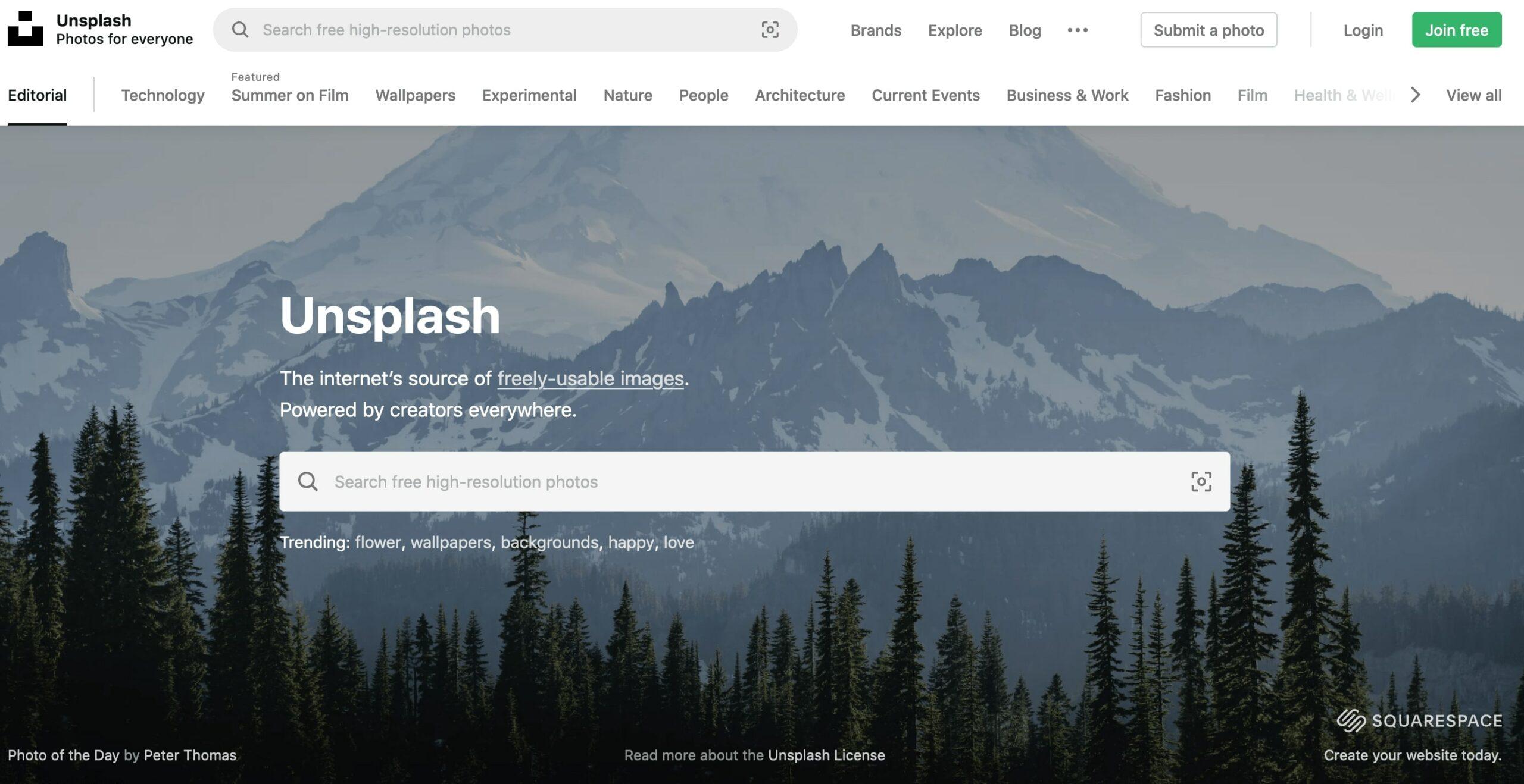 Главная страница Unsplash