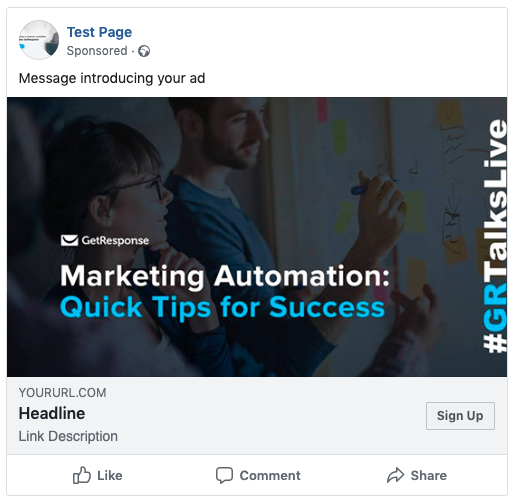 Example of a Facebook ad using an image.