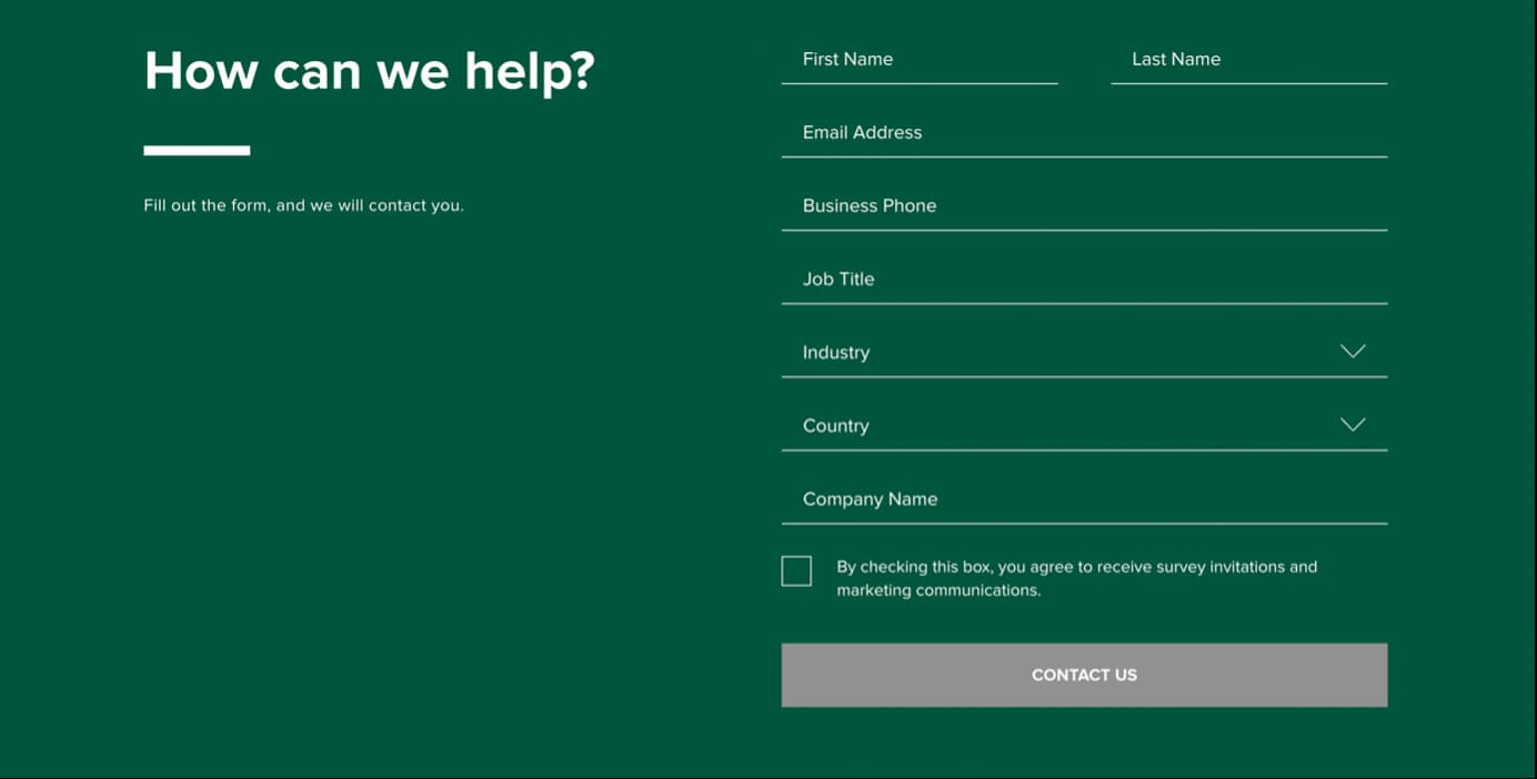 Extended web form asking users to provide their demographic data like their job title, industry, country, and company name.