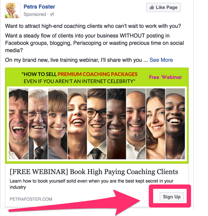 Example of a Facebook Lead ad.
